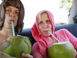 Mooluz drinking coco in Huatulco