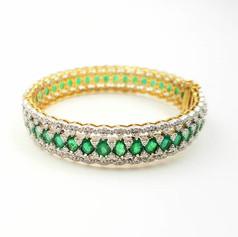 Emerald Diamond Bracelet Kada