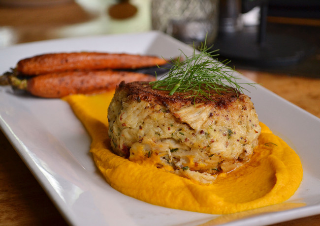 crab-cake-with-confit-carrot-puree-and-h