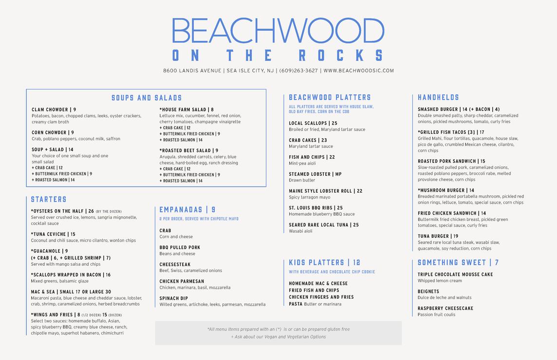 Beachwood On The Rocks Menu