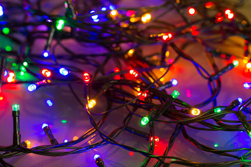 Colorful Christmas lights in a pile