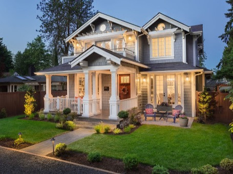 House with exterior and landscape lighting