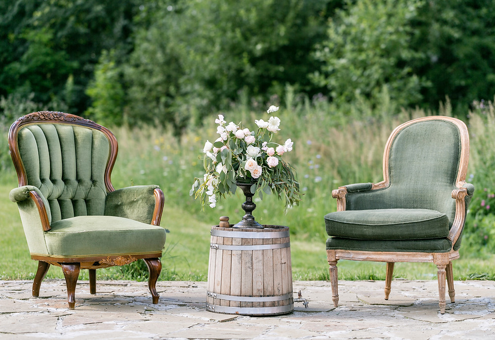 Create a vintage feel by renting antique items for your ceremony and reception set-up.