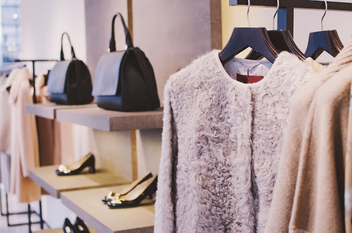 Clothes and accessories in boutique