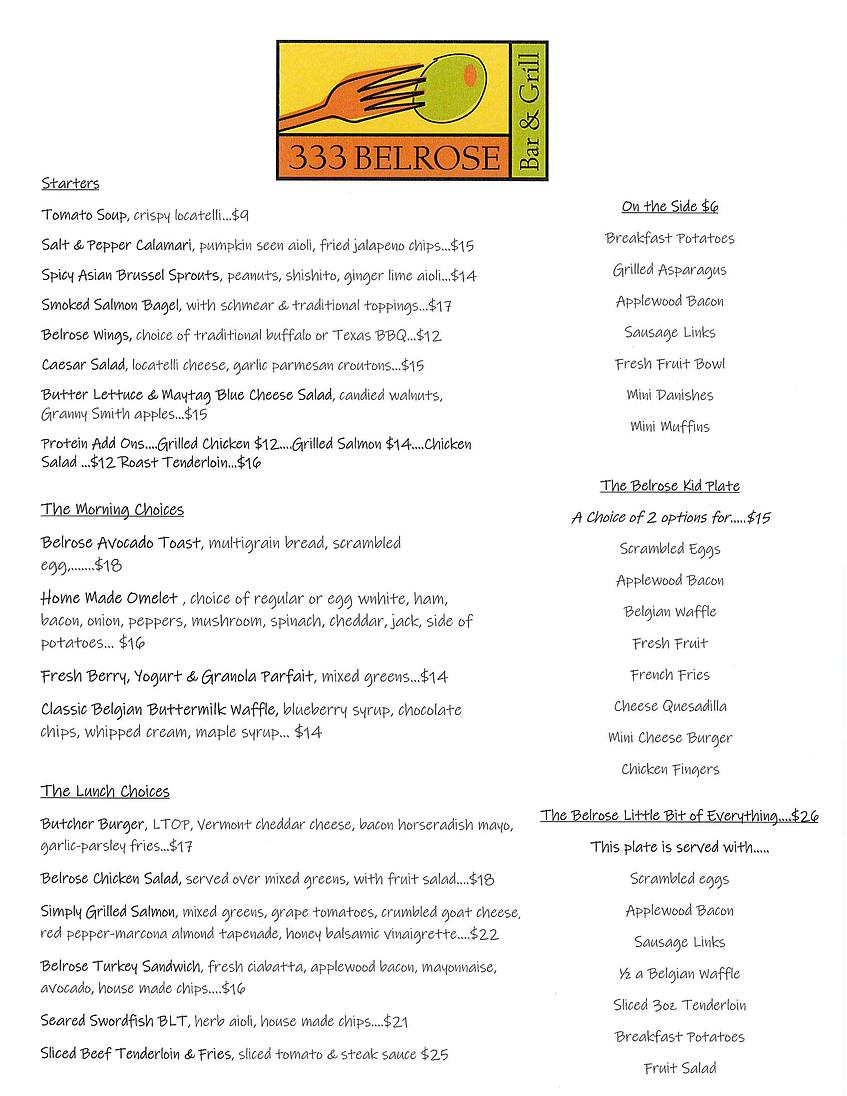 belrose mother's day menu