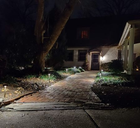 add light around the outdoor properties to showcase their porch and walkways at night