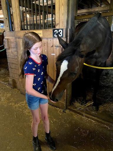 Girl feeding horse at Ryerss