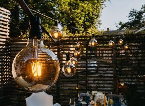 Edison bulb sting lights over patio