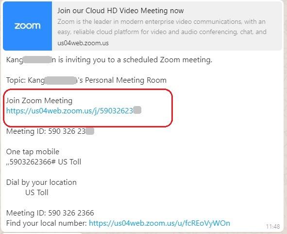 Zoom Meeting Invitation via Whatsapp