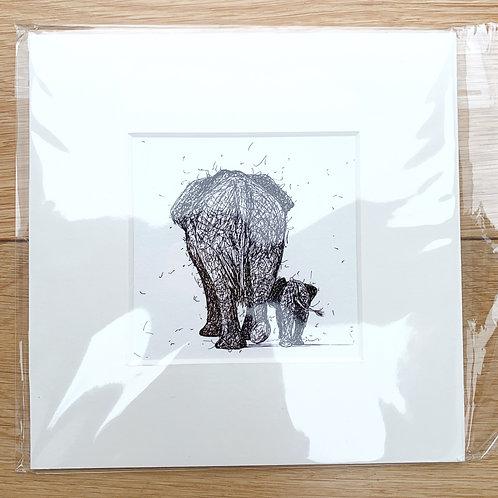Elephant and Calf (walking away) Print