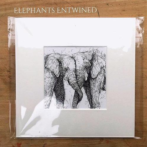 Elephants Entwined Print
