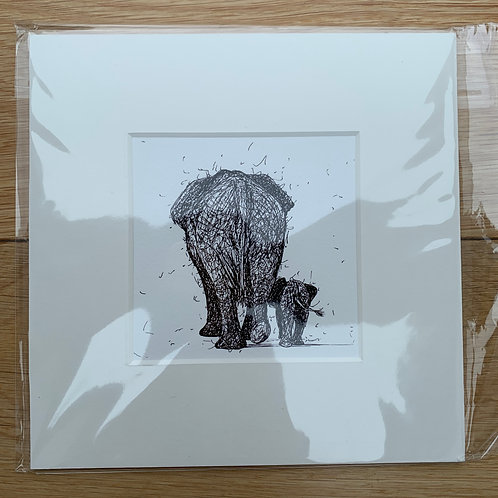 Elephant and Calf (walking away) Print