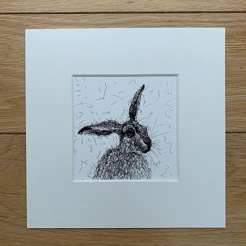 Scruffy Hare Print
