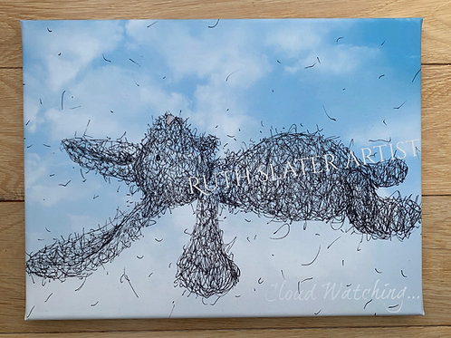Cloud watching bunny canvas