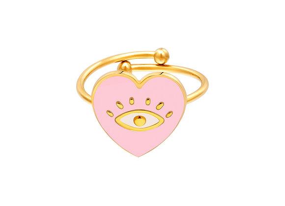 Adjustable Pom Pom Ring pink/blue