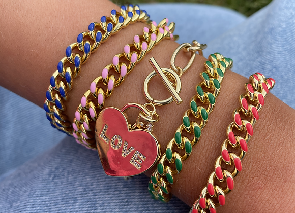 Cody Chain Bracelet - Pink, Red, Green, Blue