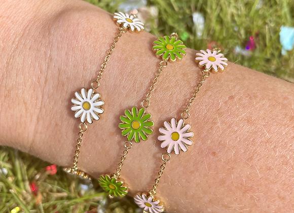 Lil Funky Petal Bracelet -PINK / GREEN/ WHITE