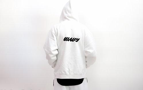 White Living Life Wavy hoodie