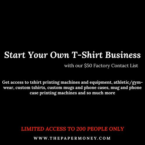 Tshirt Printing Factory Contact List