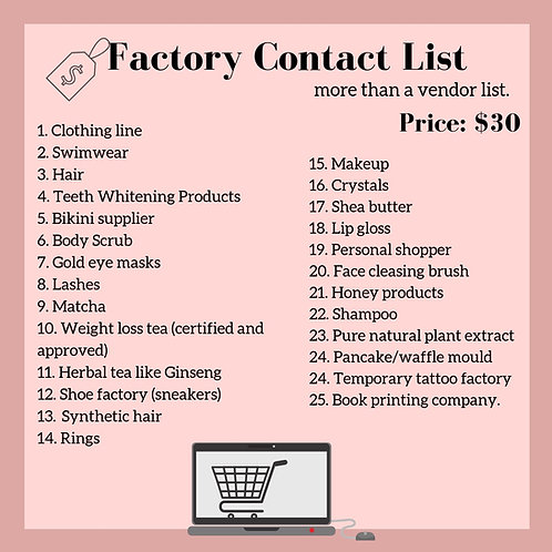 Factory Contact List Ebook