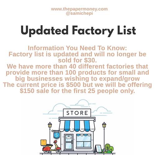 Updated Factory List