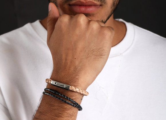 6mm Silver 'Classic Leather' bracelet