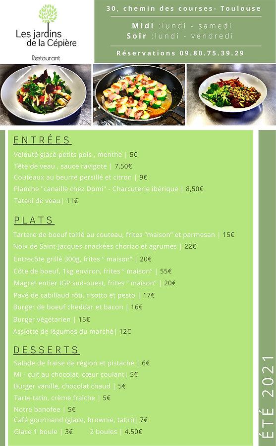 Carte été 2021 restaurant terrasse Toulo