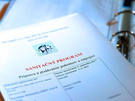 Profesionálne vypracovaný sanitačný poriadok /sanitačný program pre  prevádzku reštaurácie od firmy Dandar s.r.o..