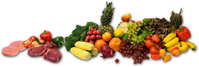 Potraviny - mäso, zelenina, ovocie.