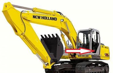 Стекло экскаватор гусеничный New Holland SK 250(KOBELCO) | стекло дверноенижнее левоес шелкографиейи отверстиями(закалённое)  New Holland SK 250(KOBELCO)