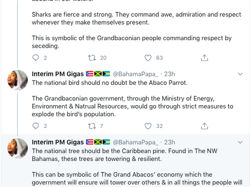 "Bahamian Twitter has proclaimed ""The Grand Abacos"" as an independent state"