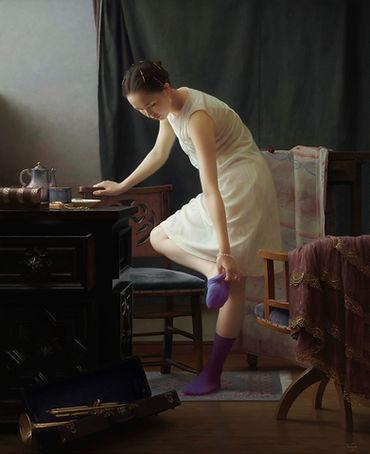生島浩「せみの声」117.0×94.0-2003-白日展.jpg