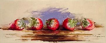 小森隼人「Five-Strawberries」14.5×35.3㎝-オイルスケッ