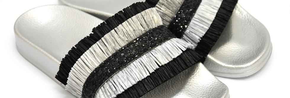 Ciabattina Frange Silver Nero