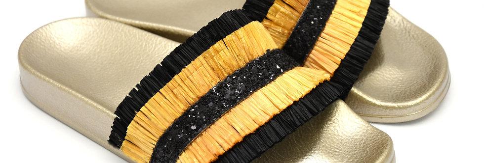 Ciabattina Frange Gold Nero