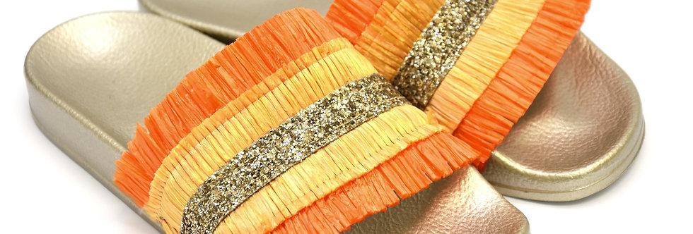 Ciabattina Frange Arancio Giallo