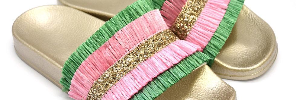 Ciabattina Frange Verde Rosa