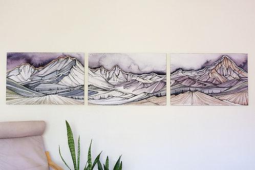 Triptych Thunderheads 2'x9'
