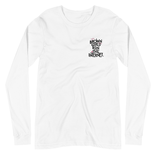 Signature Long Sleeve Embroidered Tee (White)