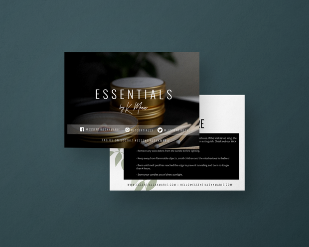 Project: Essentials by K. Marie Packaging Insert Cards
