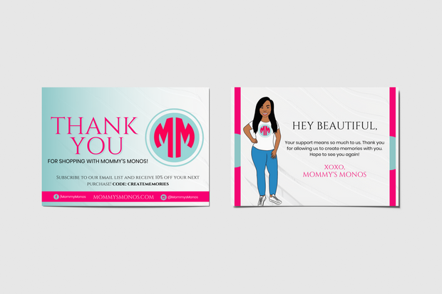 Project: Mommy's Monos Packaging Insert Cards