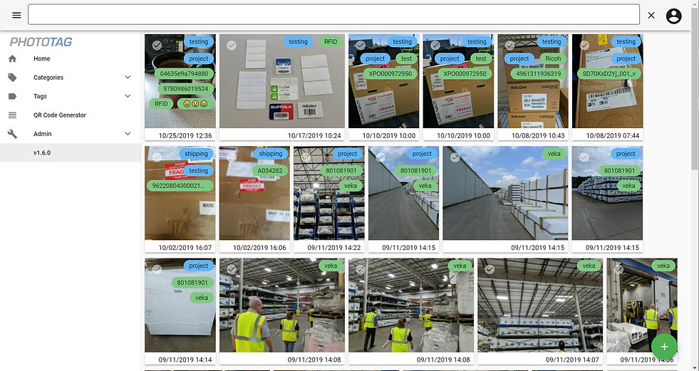 PhotoTag Web Interface Example Screenshot
