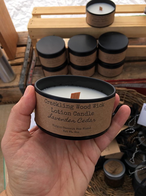 Crackling wood wick lotion candle