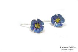 Orecchini fiori pendenti blu