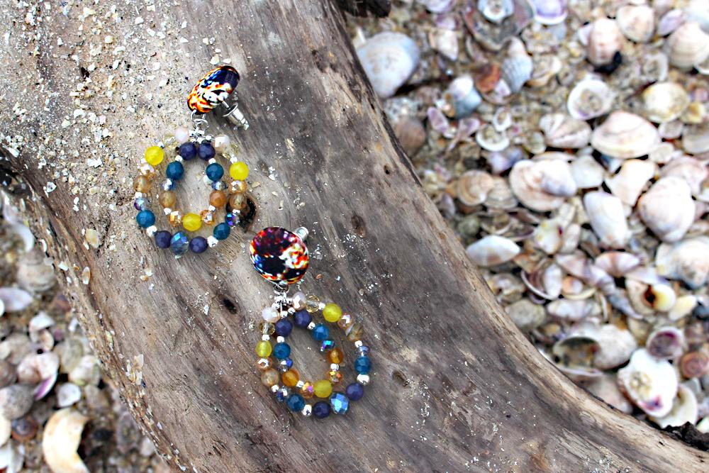 orecchini blu gialli