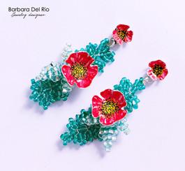 orecchini_fattoamano3_fiore_rosso_verde_