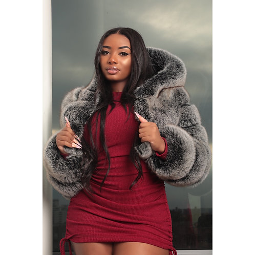 Raven Fox Fur Coat
