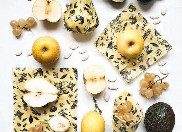 Beeswax food wrap black and white