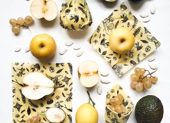 Emballage à la cire d'abeille Noir&Blanc