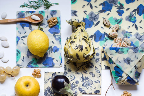 BeeWrap Motif Iris Bleu